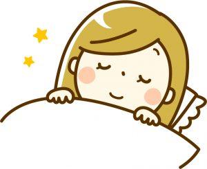 ノーメイクダブルアイズの寝ている女性のイラスト